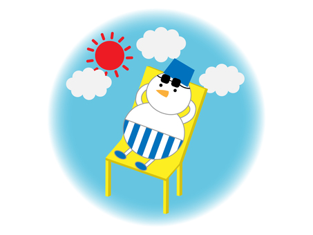 Summer illustration of a snowman