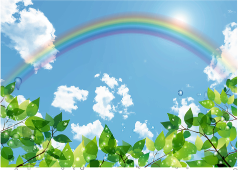 New green, blue sky and rainbow