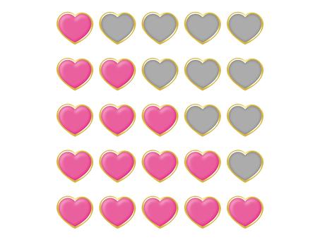 Heart's evaluation set (pink × gold border)