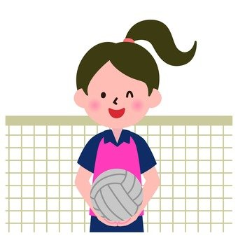 A girl playing a volleyball