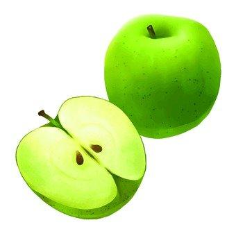 Green apple, cut