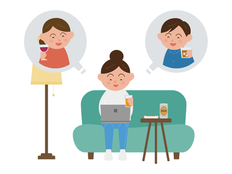 People drinking online