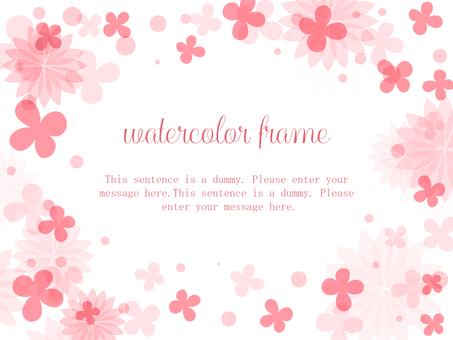 花卉水彩框架04 /粉紅色