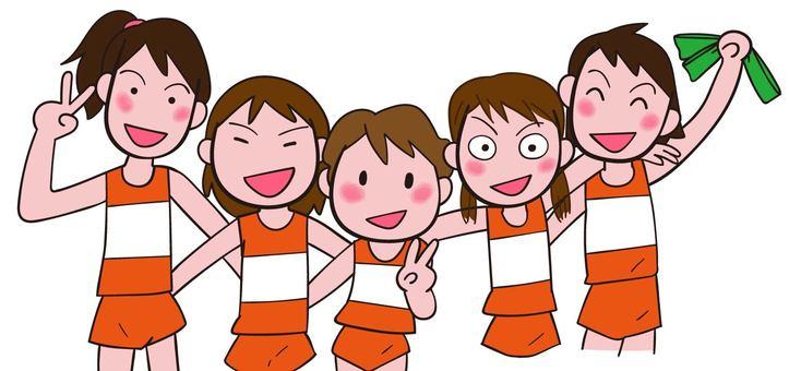 역전 마라톤 동료와 어깨동무 초등학생