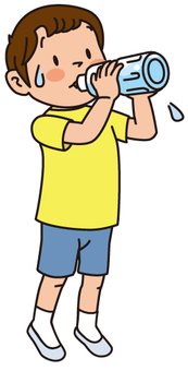 A boy drinking water