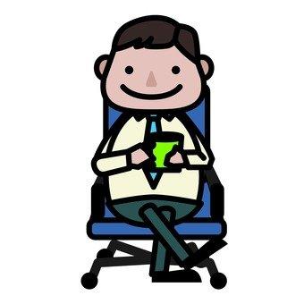 A businessman while taking a break