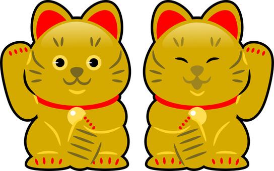 Golden inviting cat
