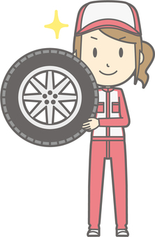 Mechanic woman - tire - whole body