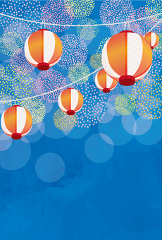 Firework-like polka dots and lantern postcard blue