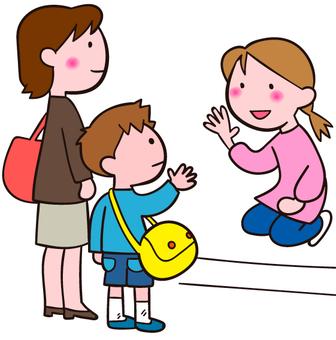 Morning at the nursery school / kindergarten greet the greeting