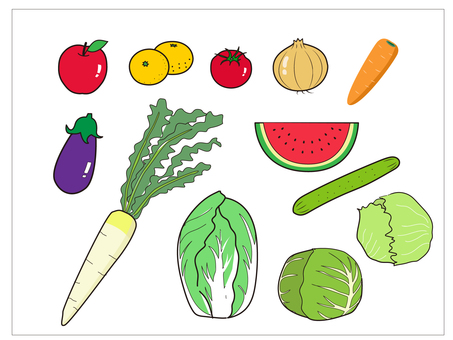 Various sets of vegetable fruit