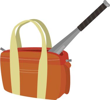 Metal bat in sports bag