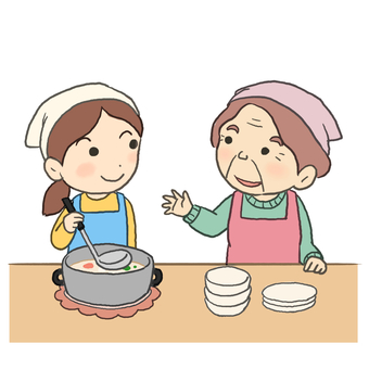 Cooking with grandchild