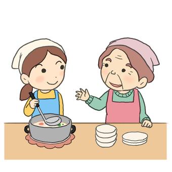 和孫子一起做飯