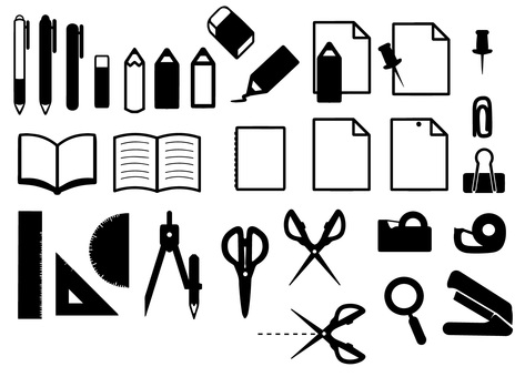 Stationery icon Silhouette set