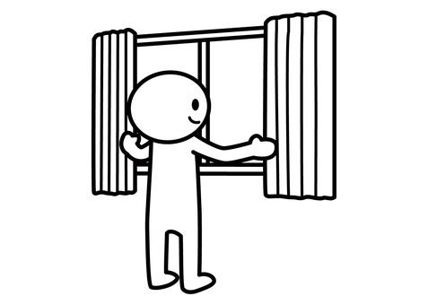 Stickman - Open curtain
