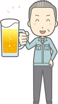 Middle-aged man work clothes - beer smile - whole body