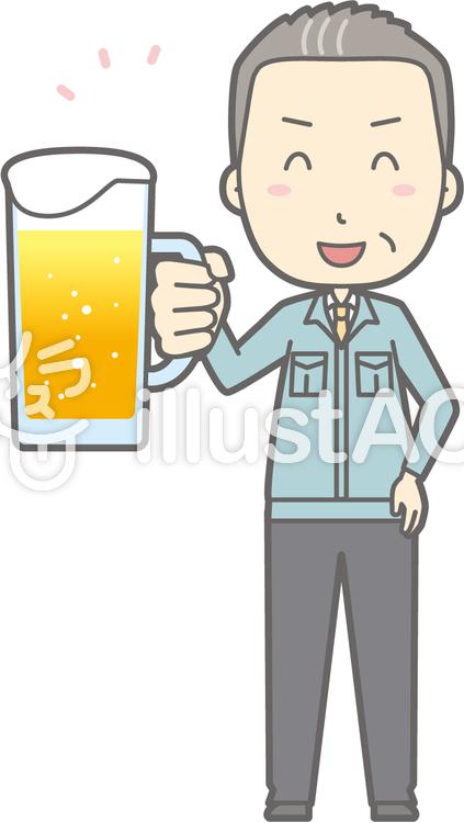 中年男作業着-ビール笑顔-全身のイラスト
