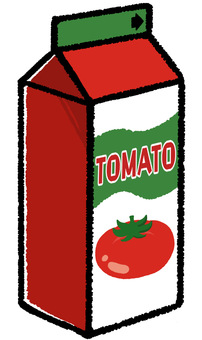 Illustration of tomato juice in paper pack