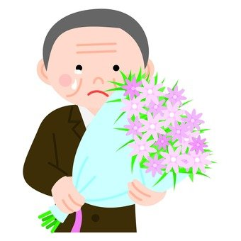 Veteran man holding a bouquet, upper body
