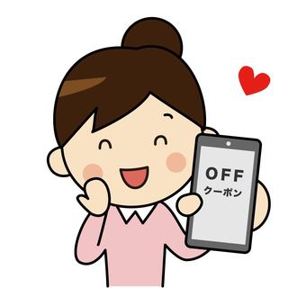 Woman 2 presenting coupon on smartphone
