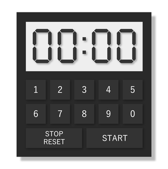 Illustration of a realistic kitchen timer (black)