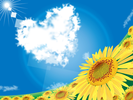 Sunflower and heart cloud