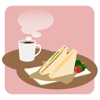Coffee and sandwich set: pink
