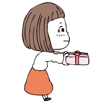 Girl giving gifts