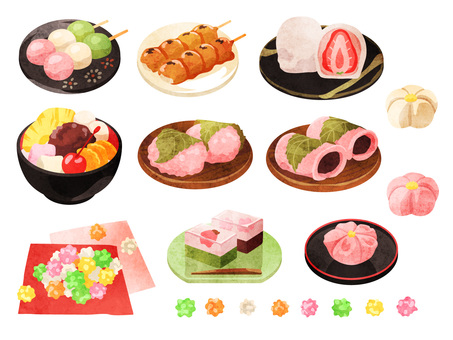 Cooking_Japanese confectionery_Set 1_Watercolor