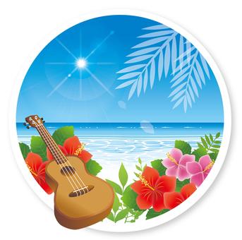 Summer sea and hibiscus and ukulele
