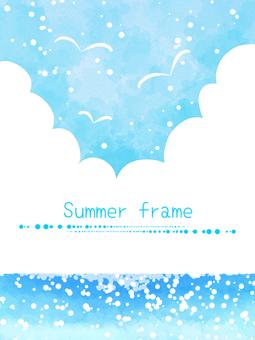 Sea, sky and clouds frame 02 / blue