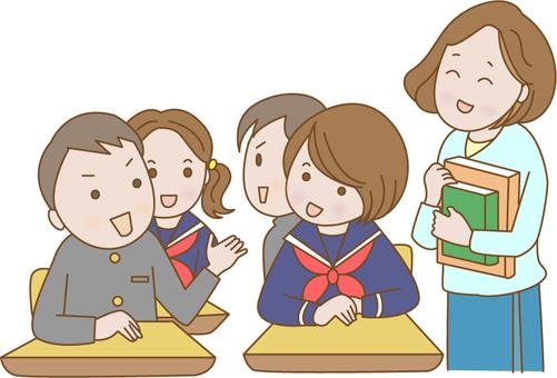學生和老師在課堂上