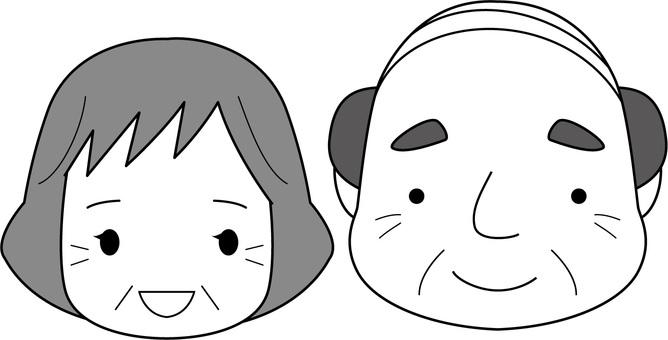 Elderly couple / monochrome