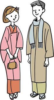 A couple who has wearing kimonos