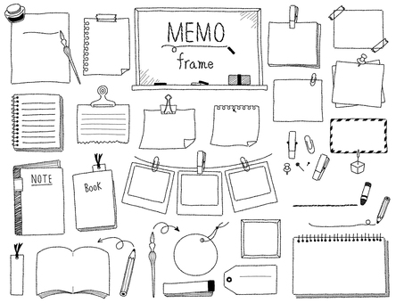 Hand-drawn frame set 04 _ memo (black and white)
