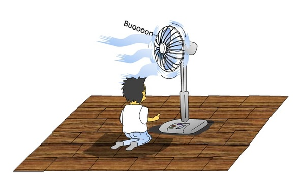 Fan and toddler