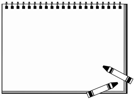 Frame sketchbook and crayon