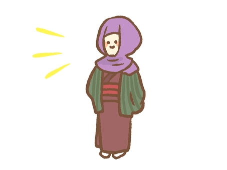 A woman with a hood