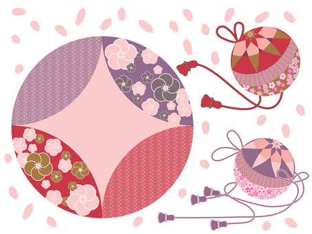 Round and Japanese pattern circle _ red