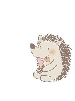 Hedgehog kun eating ice cream