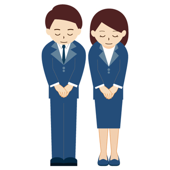 Male and female head down (business)