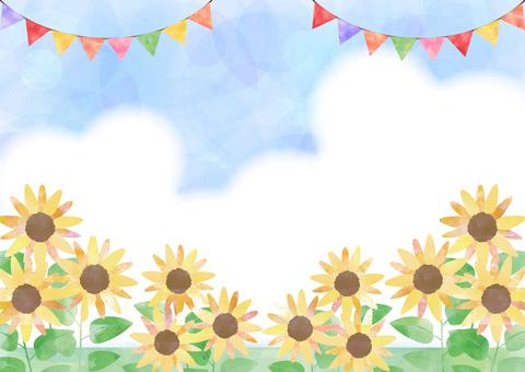向日葵_水彩_空と雲_背景2090