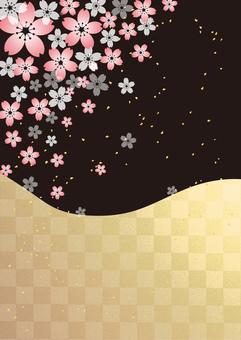 Cherry tree _ black and gold leaf lattice _ longitudinal background 2193