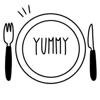Plate, fork, knife, letters 1