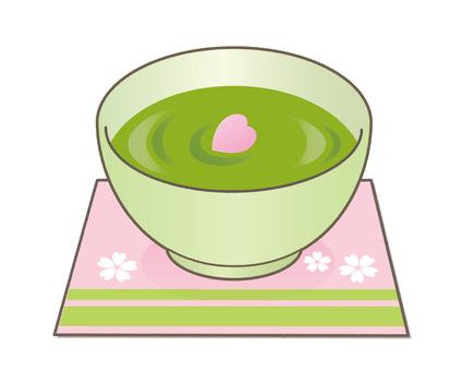 Matcha and cherry blossoms