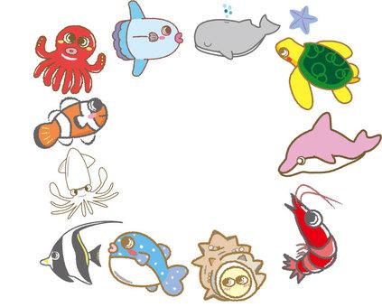 귀여운 물고기 프레임 사각형