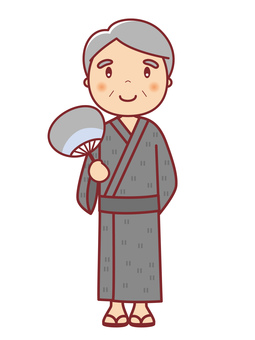 Grandpa illustration in yukata