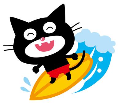 Surfing on black cat nyanta