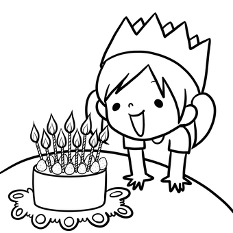 Girl staring at birthday cake Line drawing